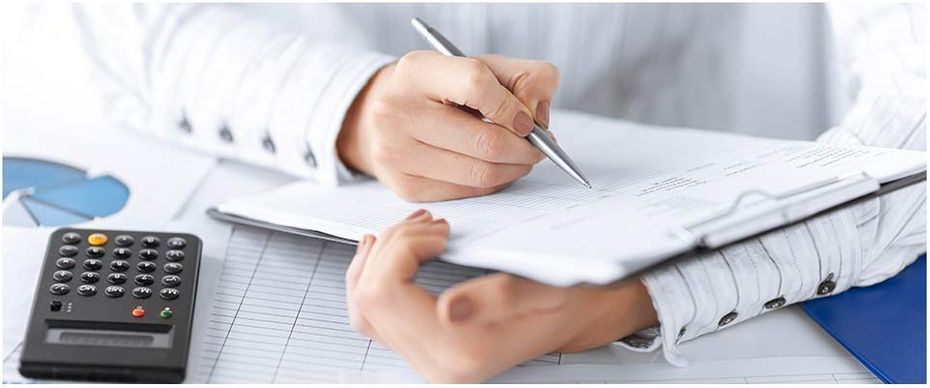 Man working on paperwork